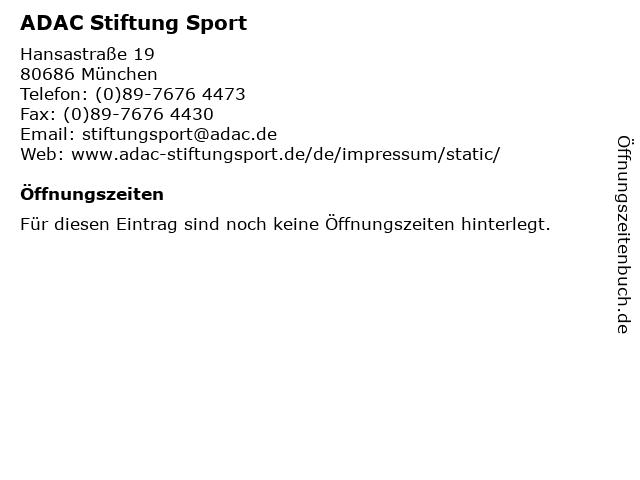 ADAC Stiftung Sport in München: Adresse und Öffnungszeiten