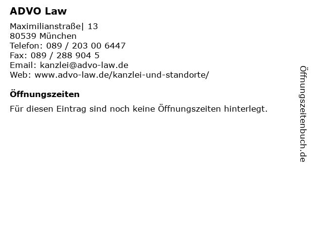 ADVO Law in München: Adresse und Öffnungszeiten