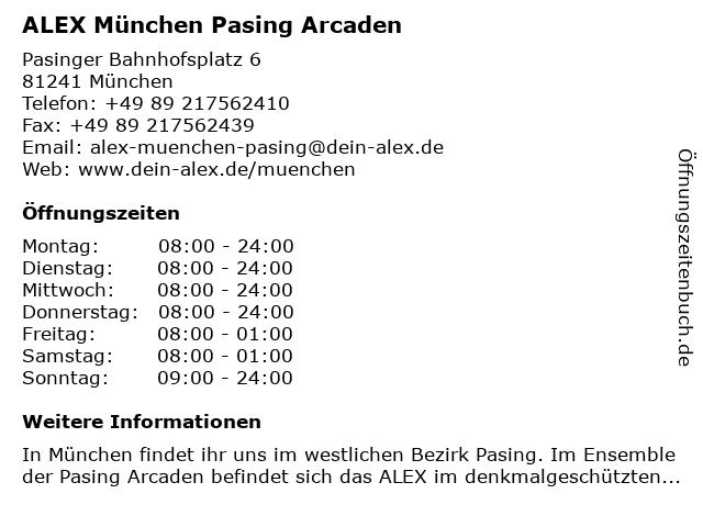 ALEX München Pasing Arcaden in München: Adresse und Öffnungszeiten