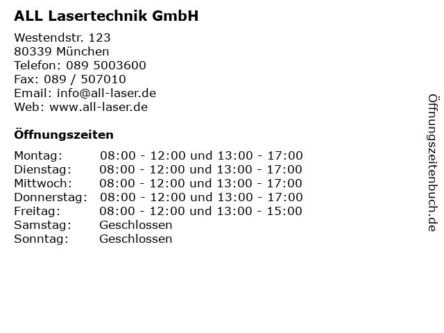 ALL Lasertechnik GmbH in München: Adresse und Öffnungszeiten
