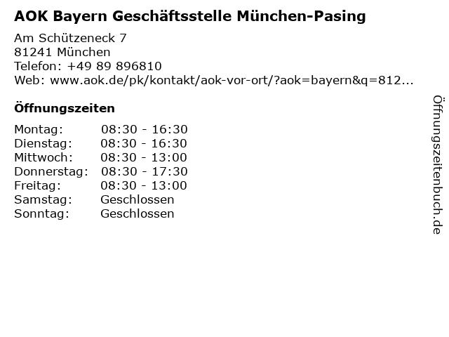 AOK Bayern Geschäftsstelle München-Pasing in München: Adresse und Öffnungszeiten
