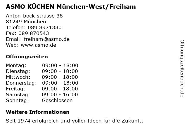 ᐅ Offnungszeiten Asmo Kuchen Gmbh Anton Bock Strasse 38 In Munchen