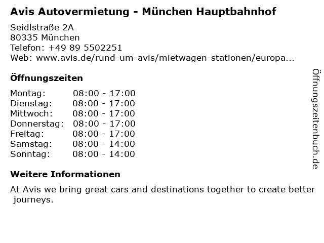 AVIS Budget Autovermietung GmbH & Co. KG in München: Adresse und Öffnungszeiten
