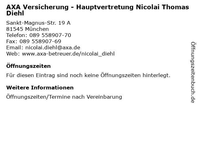 AXA Versicherung - Hauptvertretung Nicolai Thomas Diehl in München: Adresse und Öffnungszeiten