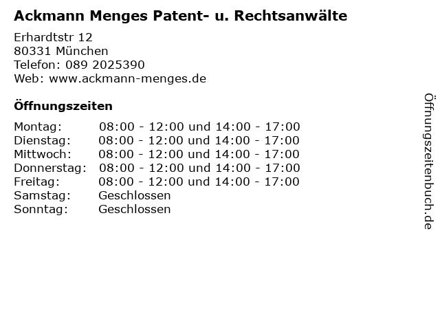 Ackmann Menges Patent- u. Rechtsanwälte in München: Adresse und Öffnungszeiten