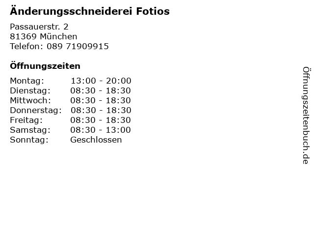 Änderungsschneiderei Fotios in München: Adresse und Öffnungszeiten