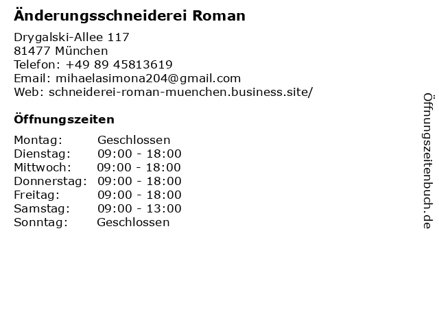 Änderungsschneiderei Roman in München: Adresse und Öffnungszeiten