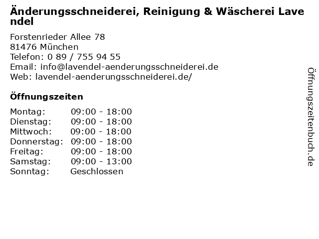 Änderungsschneiderei, Reinigung & Wäscherei Lavendel in München: Adresse und Öffnungszeiten