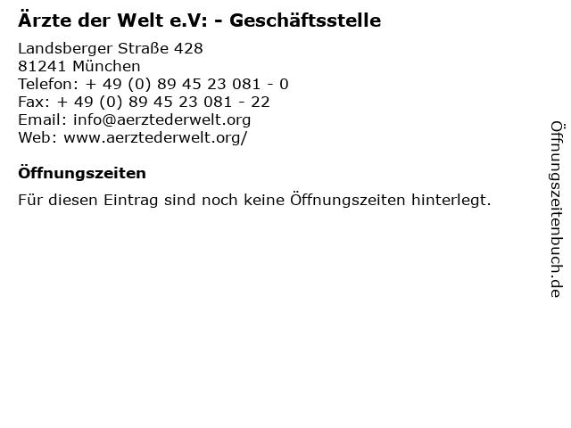 Ärzte der Welt e.V: - Geschäftsstelle in München: Adresse und Öffnungszeiten