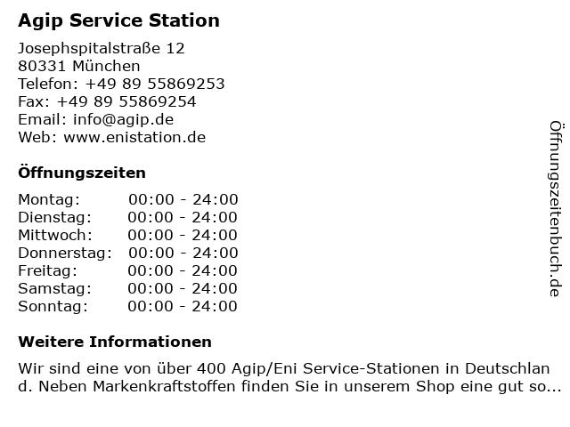 Agip Tankstelle in München: Adresse und Öffnungszeiten