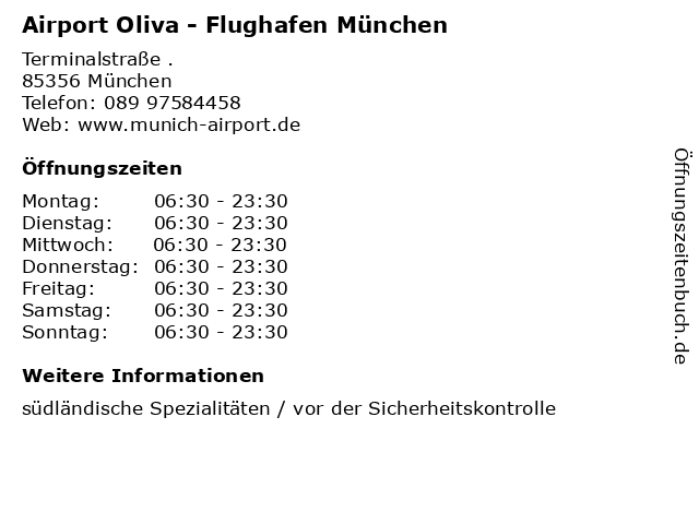 Airport Oliva - Flughafen München in München: Adresse und Öffnungszeiten