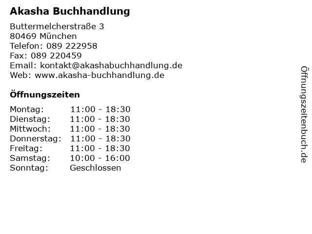 Akasha Buchhandlung in München: Adresse und Öffnungszeiten