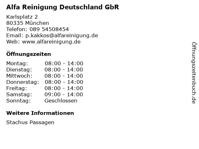 Alfa Reinigung Deutschland GbR in München: Adresse und Öffnungszeiten