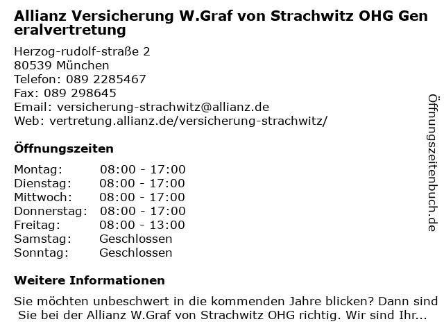 Allianz Generalvertretung Wolfgang von Strachwitz in München: Adresse und Öffnungszeiten