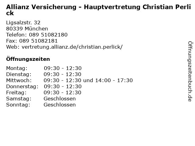 Allianz Versicherung - Hauptvertretung Christian Perlick in München: Adresse und Öffnungszeiten