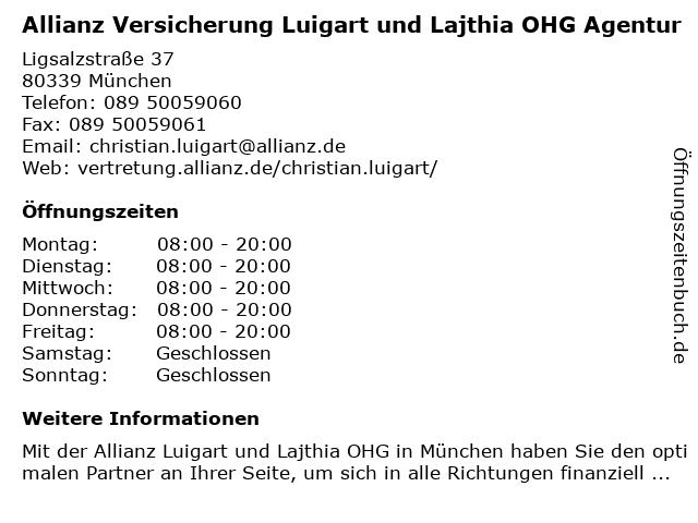 Allianz Versicherung Christian Luigart in München: Adresse und Öffnungszeiten