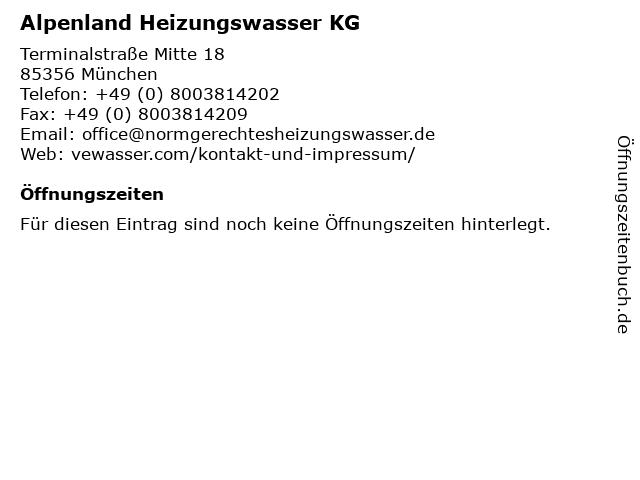 Alpenland Heizungswasser KG in München: Adresse und Öffnungszeiten