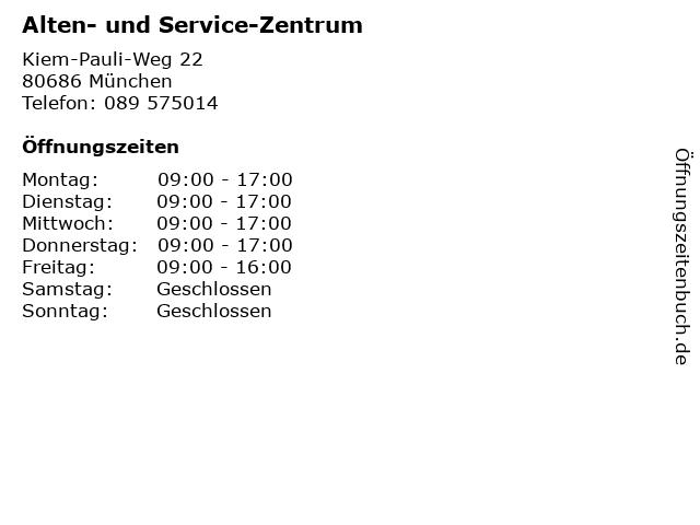 Alten- und Service-Zentrum in München: Adresse und Öffnungszeiten