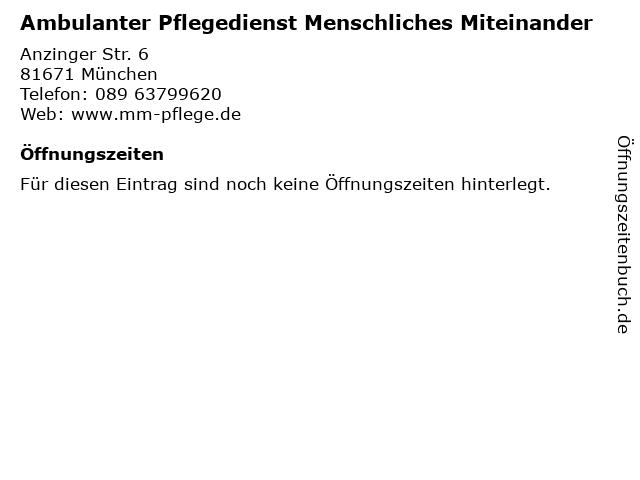 Ambulanter Pflegedienst Menschliches Miteinander in München: Adresse und Öffnungszeiten