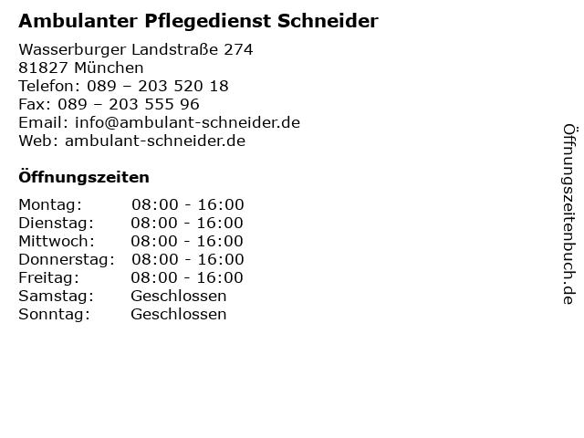 Ambulanter Pflegedienst Schneider in München: Adresse und Öffnungszeiten