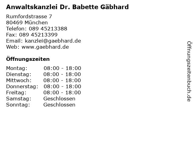 Anwaltskanzlei Dr. Babette Gäbhard in München: Adresse und Öffnungszeiten