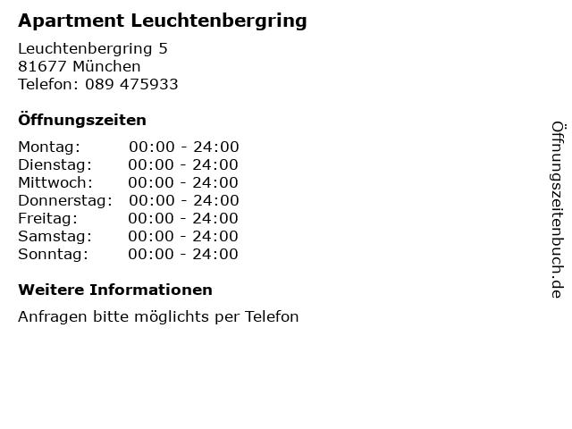 Apartment Leuchtenbergring in München: Adresse und Öffnungszeiten