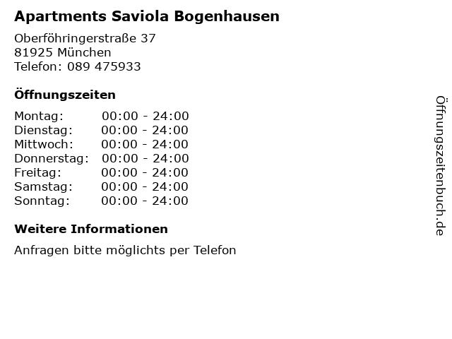 Apartments Saviola Bogenhausen in München: Adresse und Öffnungszeiten
