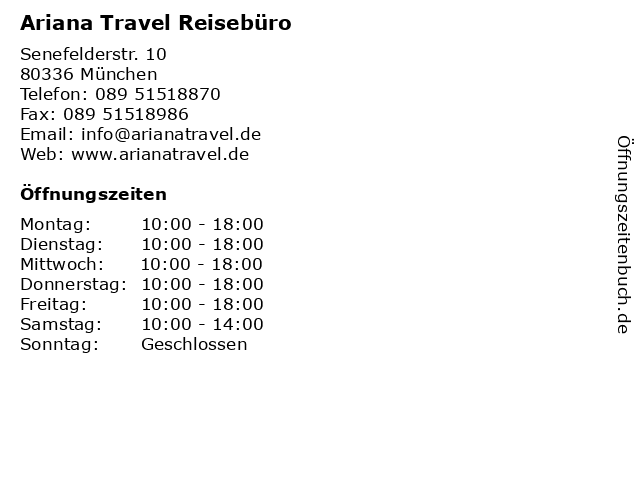 Ariana Travel Reisebüro in München: Adresse und Öffnungszeiten