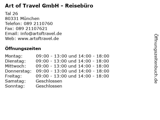 Art of Travel GmbH - Reisebüro in München: Adresse und Öffnungszeiten