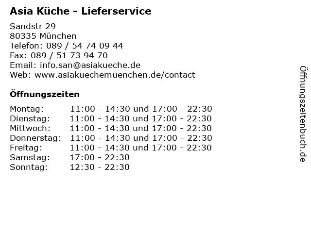 Asia Küche - Lieferservice in München: Adresse und Öffnungszeiten