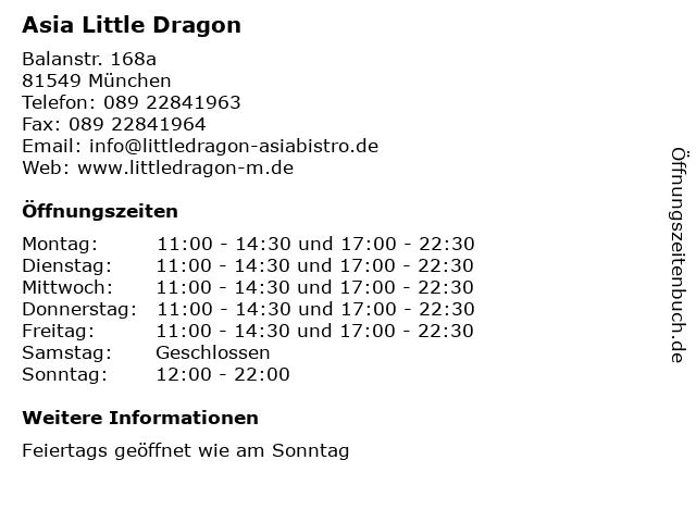 Asia Little Dragon in München: Adresse und Öffnungszeiten
