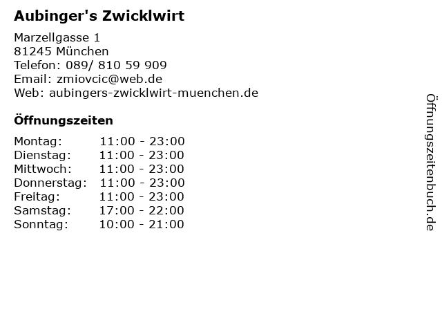 Aubinger's Zwicklwirt in München: Adresse und Öffnungszeiten