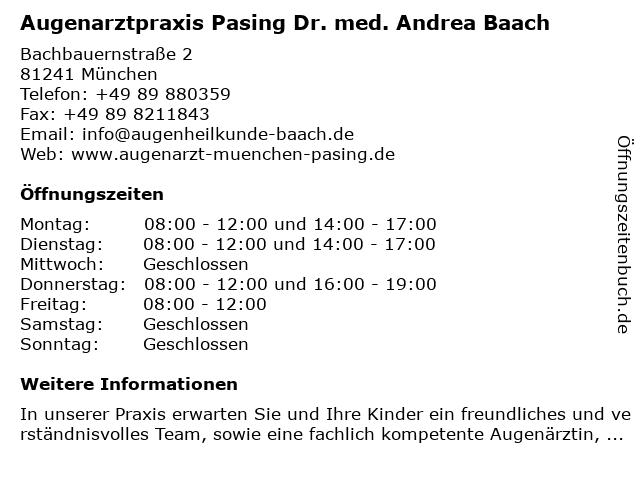 Augenarztpraxis Pasing Dr. med. Andrea Baach in München: Adresse und Öffnungszeiten