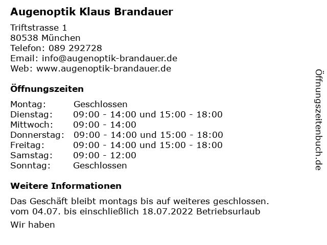 Augenoptik Klaus Brandauer in München: Adresse und Öffnungszeiten