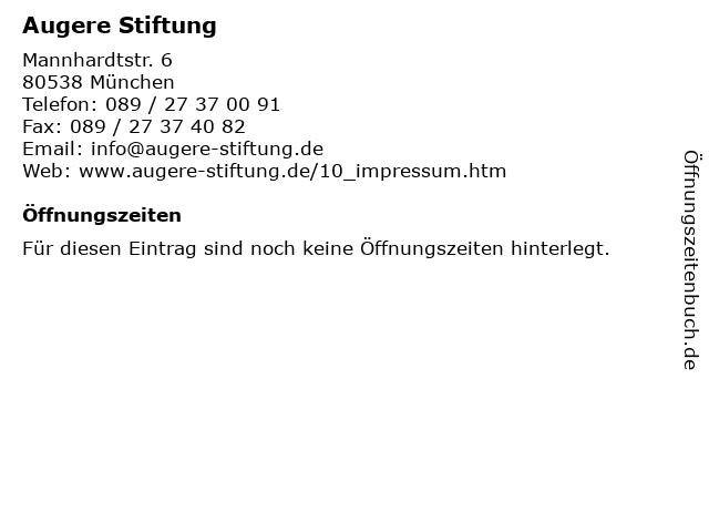 Augere Stiftung in München: Adresse und Öffnungszeiten