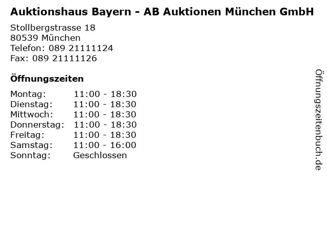 Auktionshaus Bayern - AB Auktionen München GmbH in München: Adresse und Öffnungszeiten