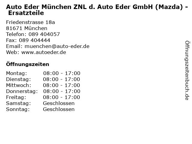 Auto Eder München ZNL d. Auto Eder GmbH (Mazda) - Ersatzteile in München: Adresse und Öffnungszeiten