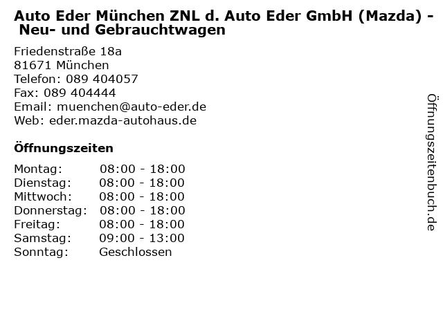 Auto Eder München ZNL d. Auto Eder GmbH (Mazda) - Neu- und Gebrauchtwagen in München: Adresse und Öffnungszeiten