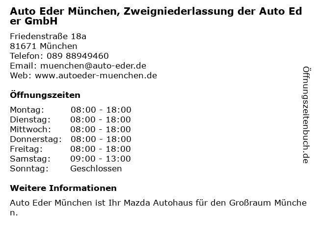 Auto Eder München ZNL d. Auto Eder GmbH (Mazda) - Service in München: Adresse und Öffnungszeiten