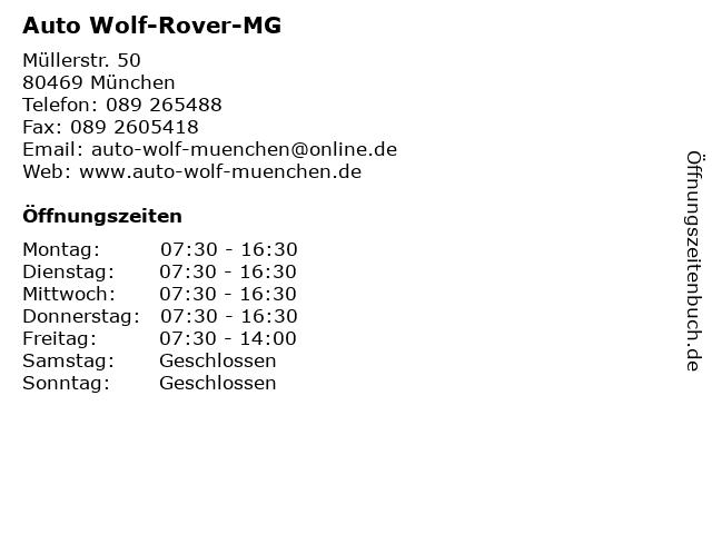 Auto Wolf-Rover-MG in München: Adresse und Öffnungszeiten