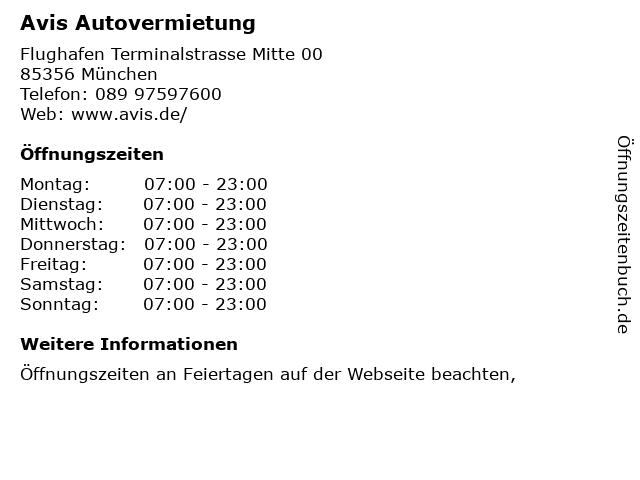 Avis Autovermietung in München: Adresse und Öffnungszeiten