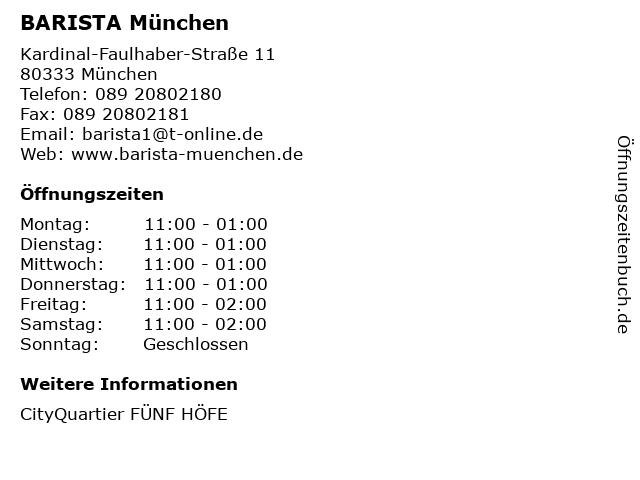 BARISTA München in München: Adresse und Öffnungszeiten