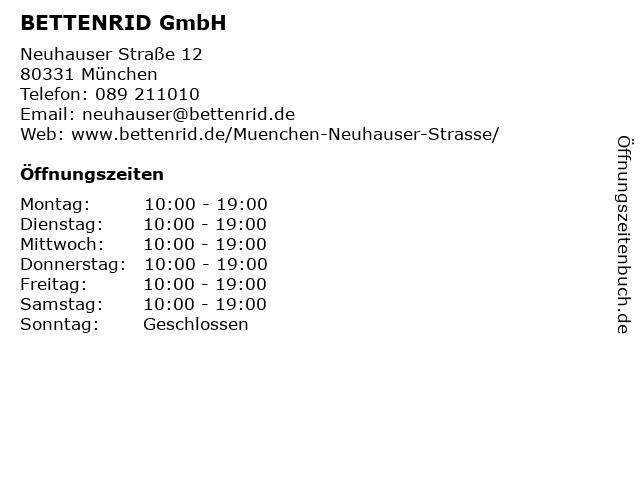 BETTENRID GmbH in München: Adresse und Öffnungszeiten