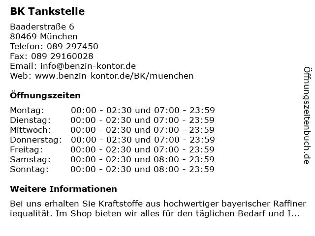 BK Tankstelle in München: Adresse und Öffnungszeiten