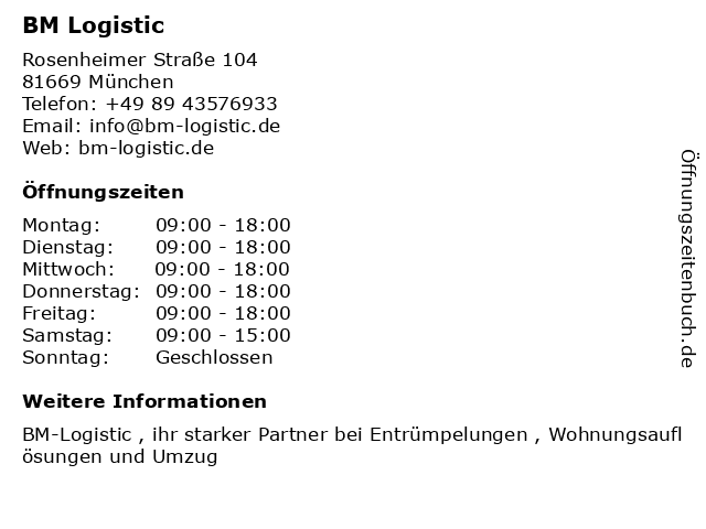 ᐅ öffnungszeiten Bm Gebrauchtmöbel Rosenheimer Str 104 In München