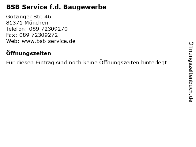 BSB Service f.d. Baugewerbe in München: Adresse und Öffnungszeiten