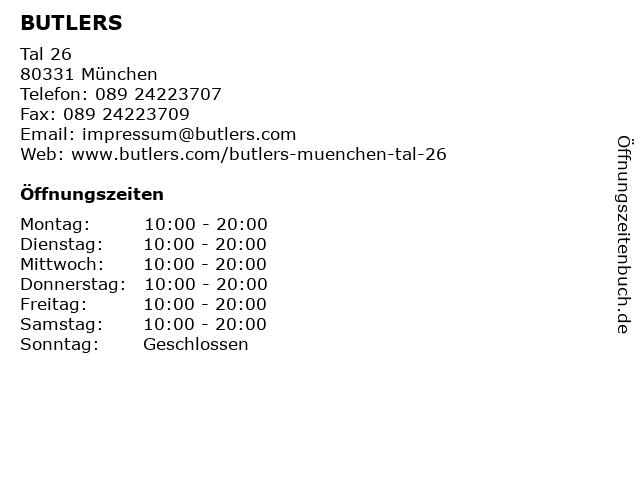 BUTLERS GmbH & Co. KG in München: Adresse und Öffnungszeiten