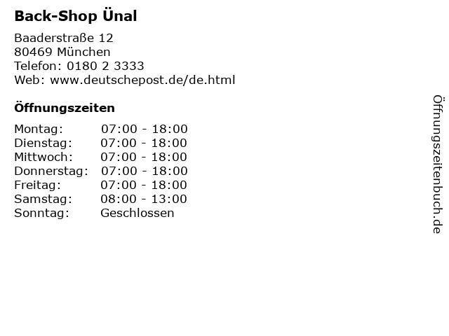 Back-Shop Ünal in München: Adresse und Öffnungszeiten