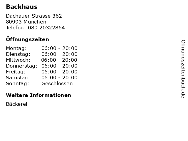 Backhaus in München: Adresse und Öffnungszeiten