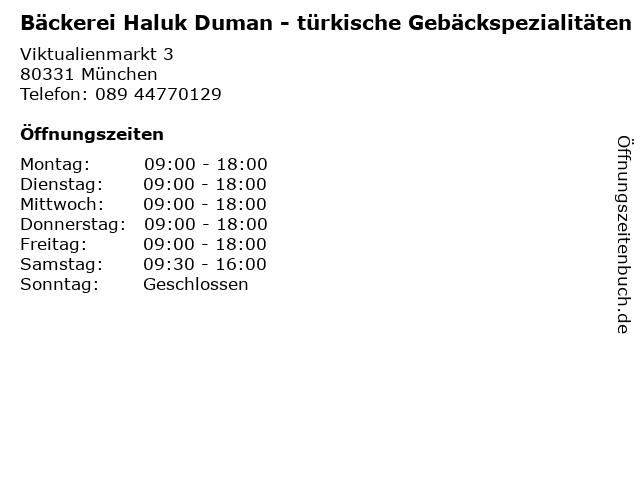 Bäckerei Haluk Duman - türkische Gebäckspezialitäten in München: Adresse und Öffnungszeiten